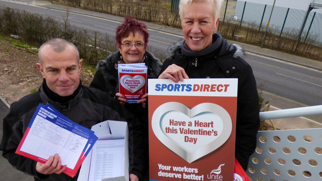 Handing in the Sports Direct petition of 20,000 signatures