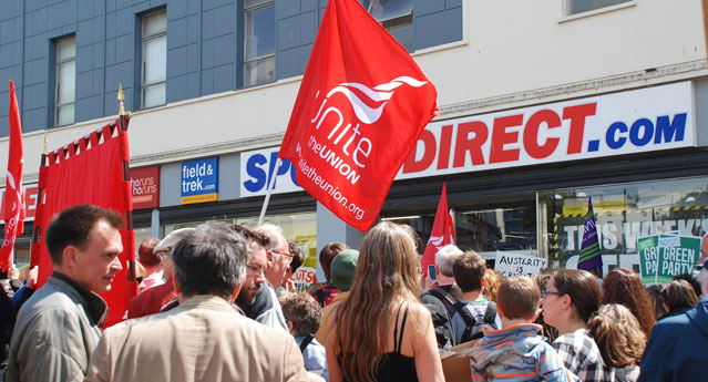 Protest against bad working practices and low pay at Sports Direct